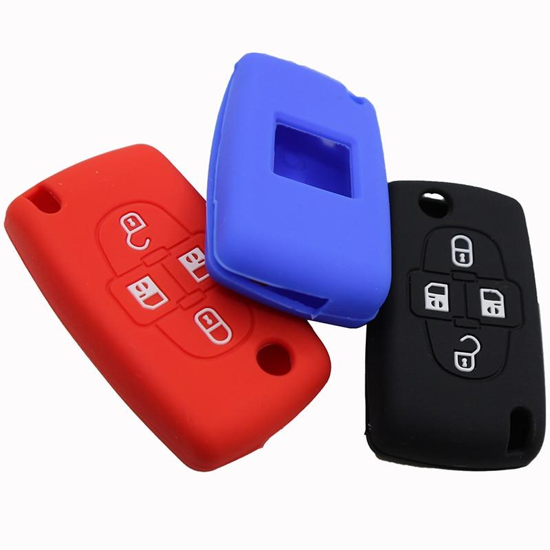 Funda de silicona de cobertura de mando a distancia para Peugeot 1007, para llave de coche Citroen C8 de 4 botones, funda para Peugeot 807