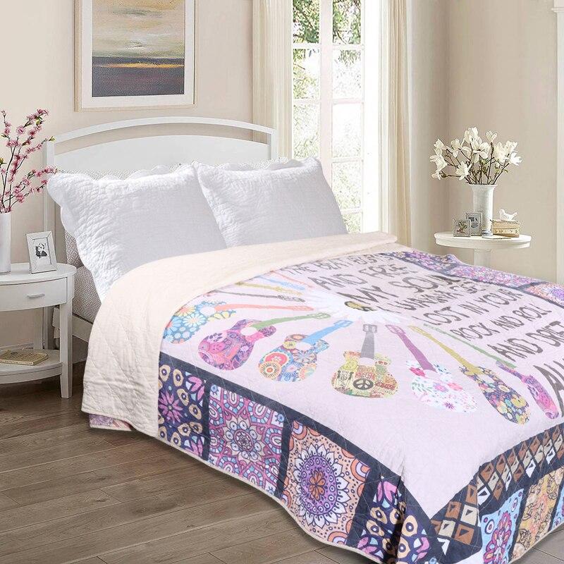200*230 سنتيمتر الغيتار المطبوعة لحاف الصيف الكرتون الفراش غطاء سرير مصنوع من القطن اللحف المنسوجات المنزلية