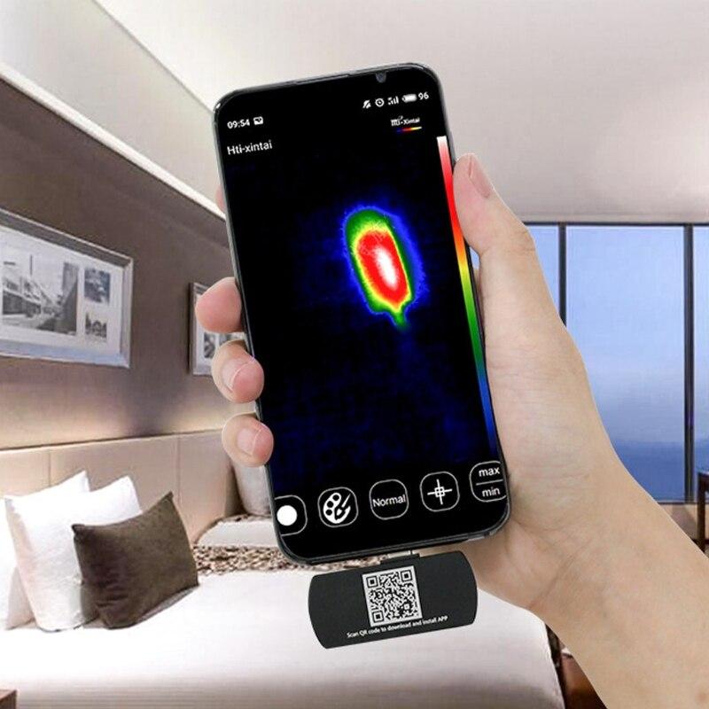 HT-201 Hti هاتف محمول الأشعة تحت الحمراء الخارجية الحرارية صورة مركز نقطة عرض درجة الحرارة ل An-droid أدوات الهاتف المحمول M4YD