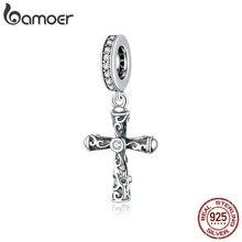Bamoer 925 argent Sterling Vintage croix pendentif breloque pour Original serpent Bracelet ou collier bracelet à bricoler soi-même accessoires BSC313