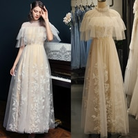 Appliqued Tulle Wedding Bridal Dress A Line Elegant 2021 New High Neck Pearls Bridesmaid Gown Plus Size Vestido De Noiva 2050#