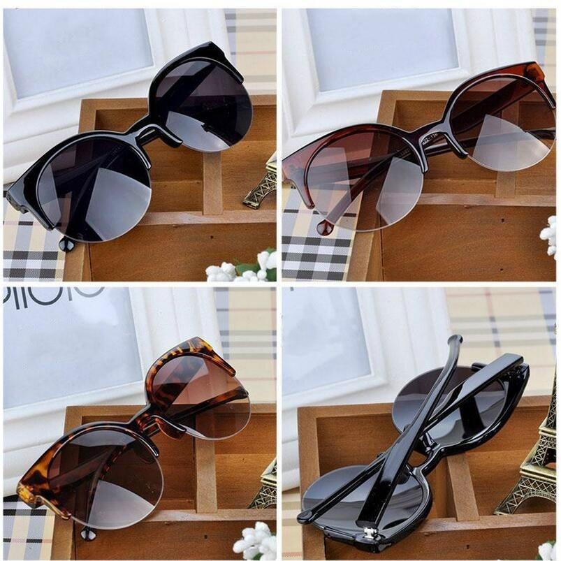 High Quality Sunglasses Women Fashion Retro Designer Super Round Circle Glasses Cat Eye Semi-Rimless