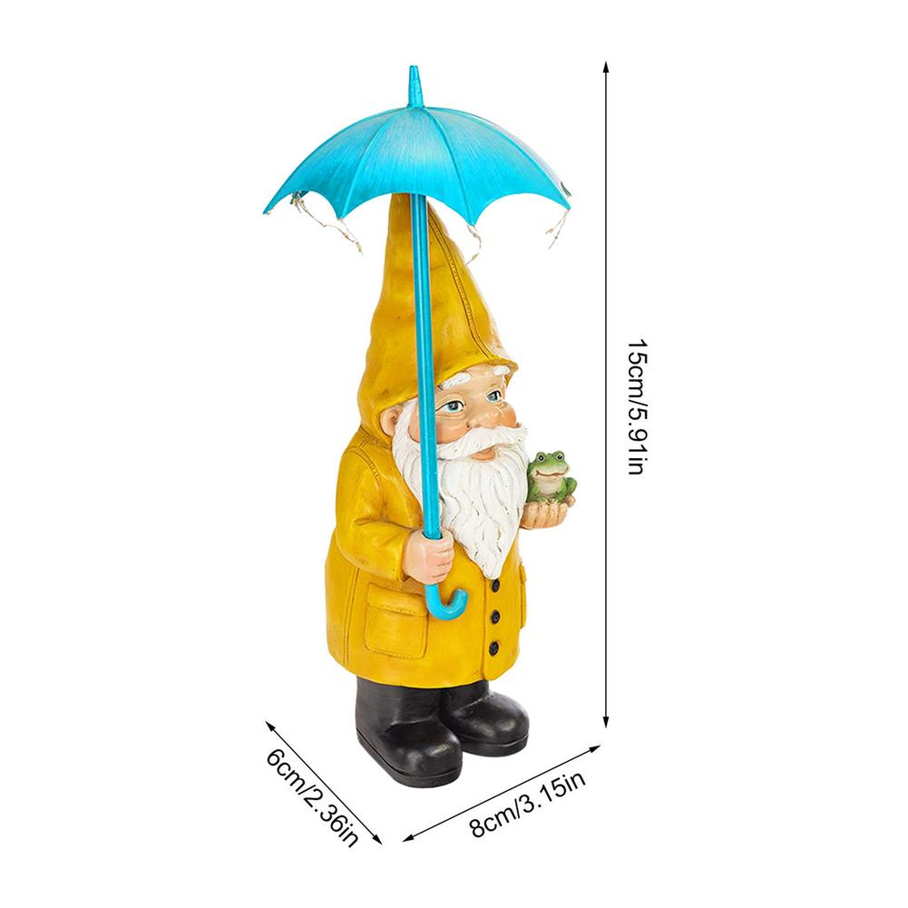 NEW Garden Dwarf Statue Resin Wearing Slicker Statue With Solar LED Light For Outdoor Gnomes Yard Garden Decor Large Figurines