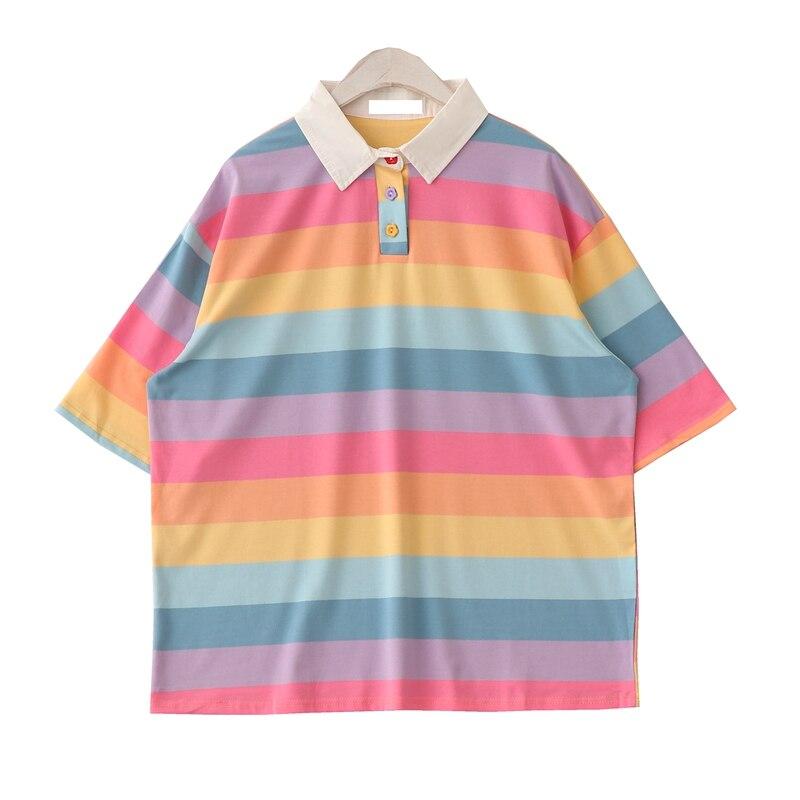 Dulces japoneses Arco Iris mujeres T camisa Harajuku Kawaii Collar Vintage camiseta Femme coreano camiseta Kawaii rayas camiseta