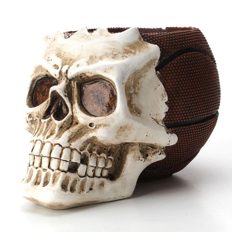 Baloncesto calavera ornamento esqueleto soporte de escritorio para lápiz organizador maquillaje
