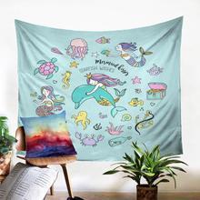 Tapisserie murale de dessin animé   Arrière-plan motif imprimé mignon, sirène, tapis jeté, décoration murale de Fabic, papier Mural, décoration de maison