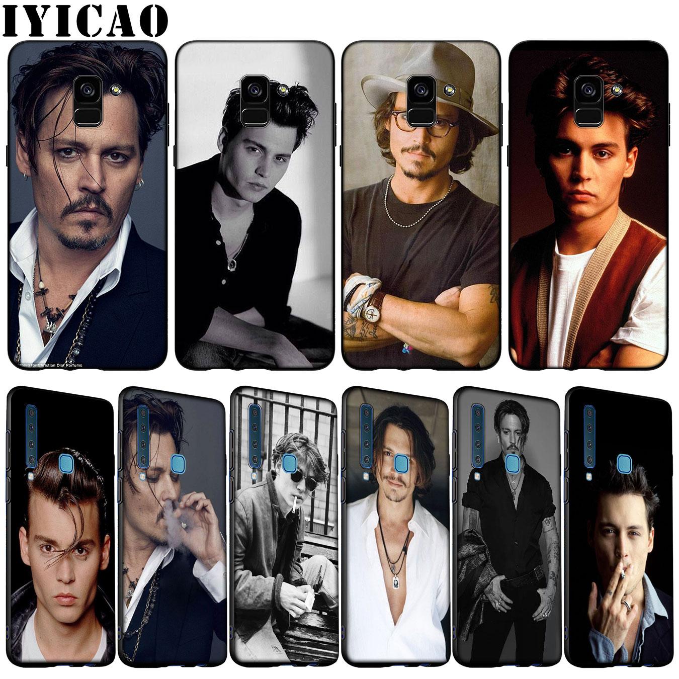 IYICAO johnny depp Caso de Telefone de Silicone Macio para Samsung Galaxy A6 A7 A8 A9 2018 A3 A5 2016 2017 Nota 9 8 10 Plus