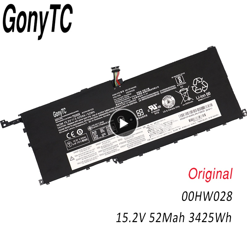 Batería original 00HW028 para ordenador portátil Lenovo ThinkPad X1 Carbon X1C Gen 4 (2016) X1 Yoga 1st(2016) 6th SB10F46467 00HW029