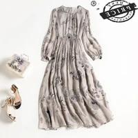 high quality vintage spring summer dress 2021 100 silk dresses for women casual floral long sleeve dress female vestidos