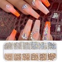 12 grids nail rhinestones multi size diamond colorful fashion manicure decor ab glass crystals 3d flat back gems glitter decor