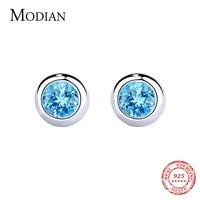 modian popular real 925 sterling silver round rock blue crystal cz stud earrings for women fashion fine silver earring jewelry