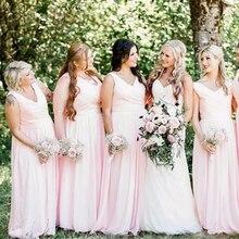 Roze Royal Blue Chiffon V-hals Strand Bruidsmeisje Jurken 2020 Plus Size Bruidsmeisjes Jurken Floor Lengte Bruiloft Gast Jurk