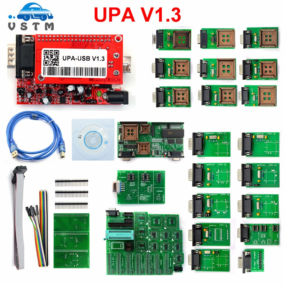 Upa usb v1.3 usb serial programador upa usb adaptador v1.3 para ecu chip tuning eeprom & microchip adaptadores completos