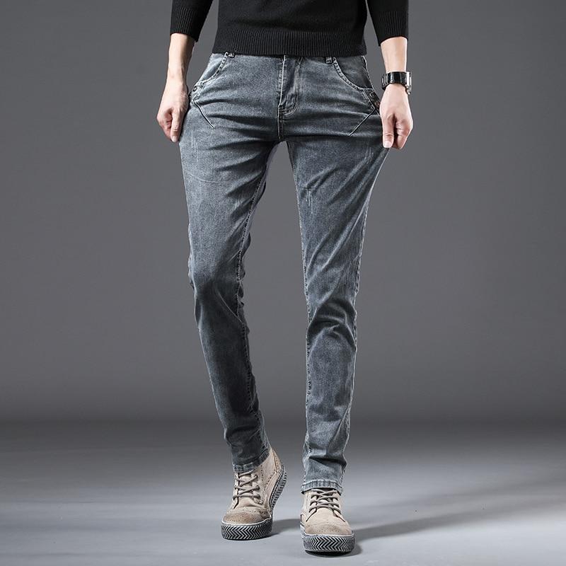 2021 Autumn Jeans Men Straight Casual Fashion Denim Trousers Male Ripped Jeans Homme Classic Black Cotton Hip Hop Denim Pants