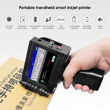 Mini impresora de inyección de tinta portátil, máquina de impresión de etiquetas, pantalla táctil, 600DPI, logotipo inteligente de fecha USB, código de barras, impresora de código QR