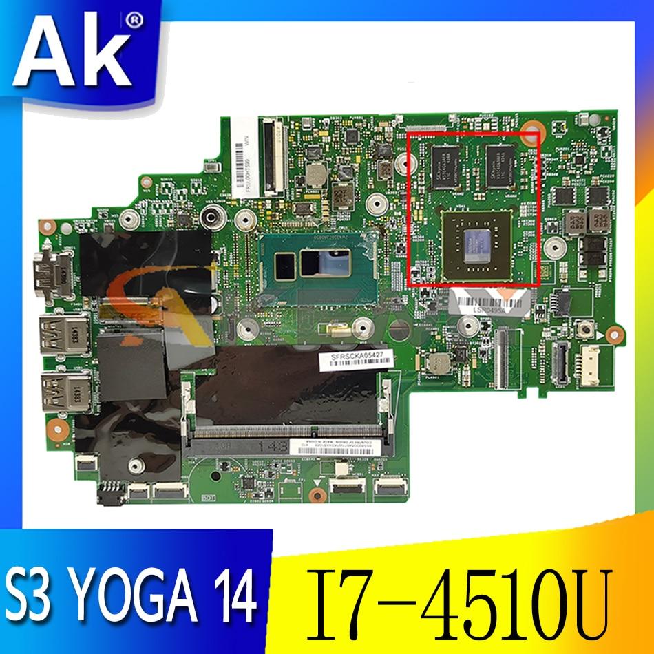 Akemy For 13323-2 448.01127.0021 ينطبق على Thinkpad S3 YOGA 14 لوحة الأم للكمبيوتر المحمول CPU I7 4510U DDR3 GT840M 2G 100% اختبار العمل
