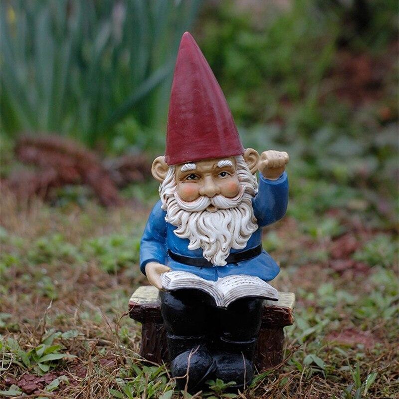 Creativa resina tomar libros ola gnómo figurita patio estatua de enano Americana casa jardín decoraciones al aire libre ornamentos