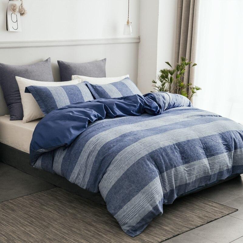 PHF Textiles para el hogar lavado de lino Funda nórdica de algodón con almohada Shams azul Funda nórdica reina juego de cama real de lujo