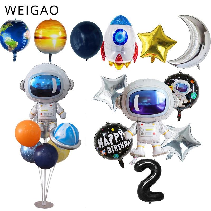 Воздушные шары из фольги для космической вечеринки, ракеты, астронавта, воздушные шары для мальчиков, галактики/солнечной системы, празднич...