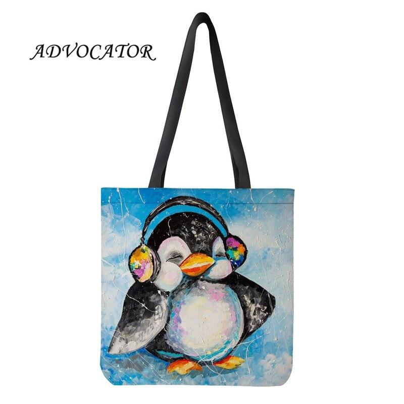 Lindo pingüino de dibujos animados impresión Tote algodón estudiante libro Bolsa de las señoras de gran capacidad de lona bolso reutilizable de compras Bolsa Tela