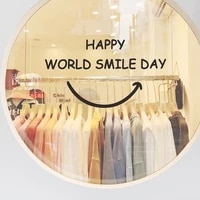 happy world smile day words decorative wall mirrors shop window sticker home decor bathroom accessories house decals art posters