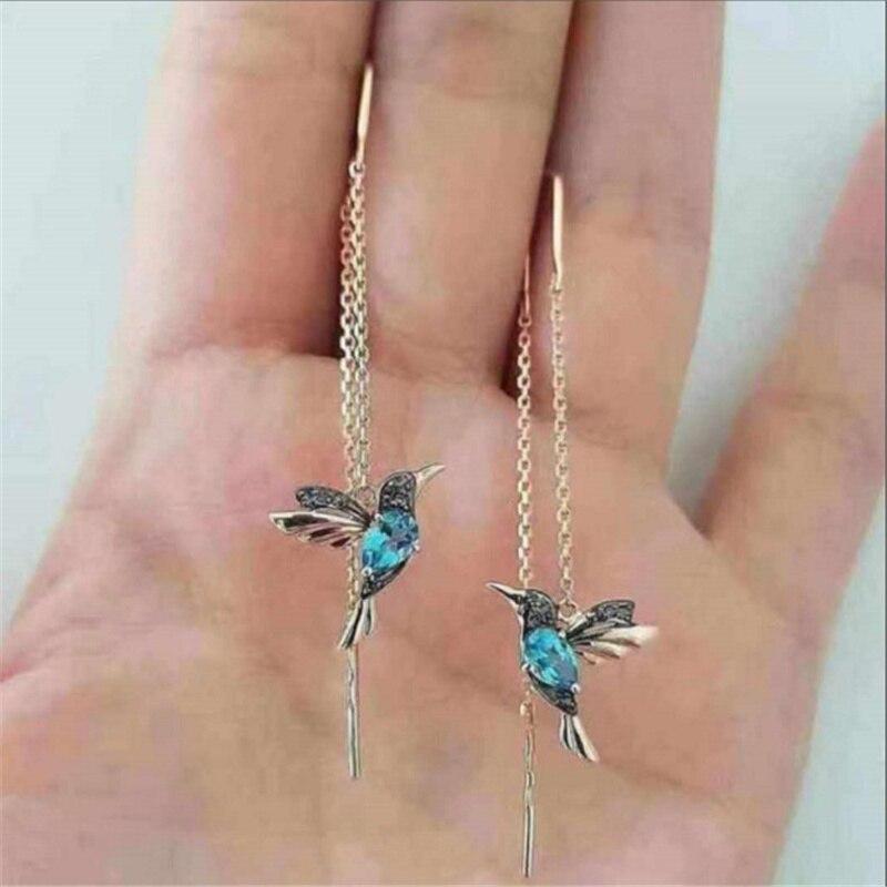 New Fashion Little Bird Drop Long Hanging Earrings for Women Elegant Girl Tassel Earring Stylish Jewelry Personality Gift