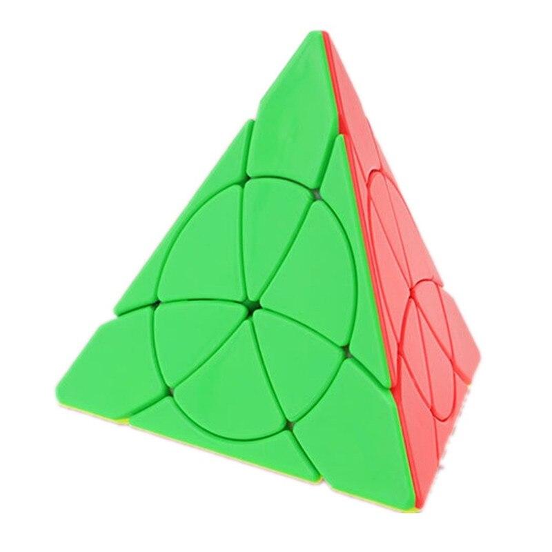 Pirámide de pétalos tetraedro triángulo sin pegatina 3x3x3 velocidad cubo mágico Twist Puzzle juguete rompecabezas 3D juego de inteligencia 3x3 YJ hoja regalo