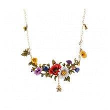 Collar de lujo de flores exageradas, joyería de moda para fiestas, collar con colgante romántico de flores de jardín para mujeres
