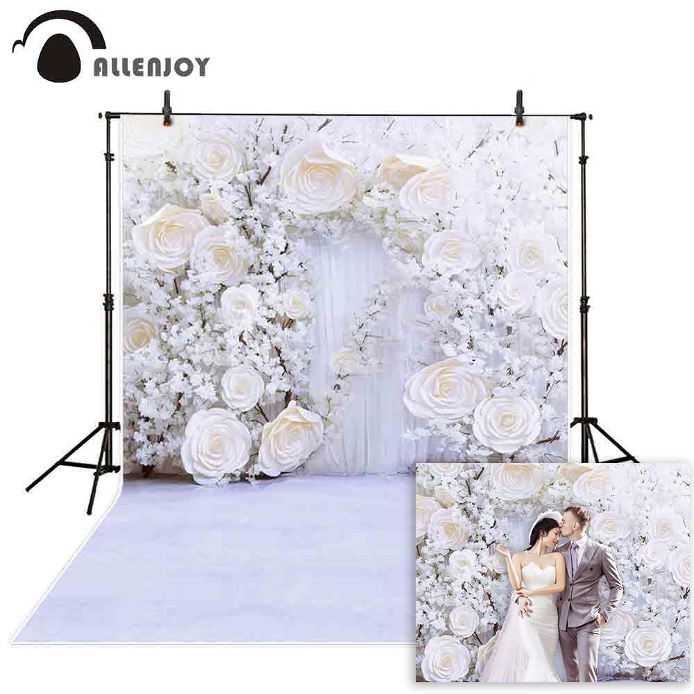 Fondo de boda Allenjoy Photozone flor nupcial ducha Fondo romántico compromiso aniversario fiesta pared estandarte de fotomatón