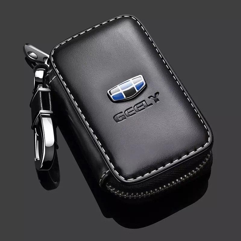 Funda de cuero para llave con logotipo de coche, funda para llave remota para Geely Atlas Boyue NL3 Emgrand X7 EmgrarandX7 EX7 SUV GT GC9 Borui Coolray Style