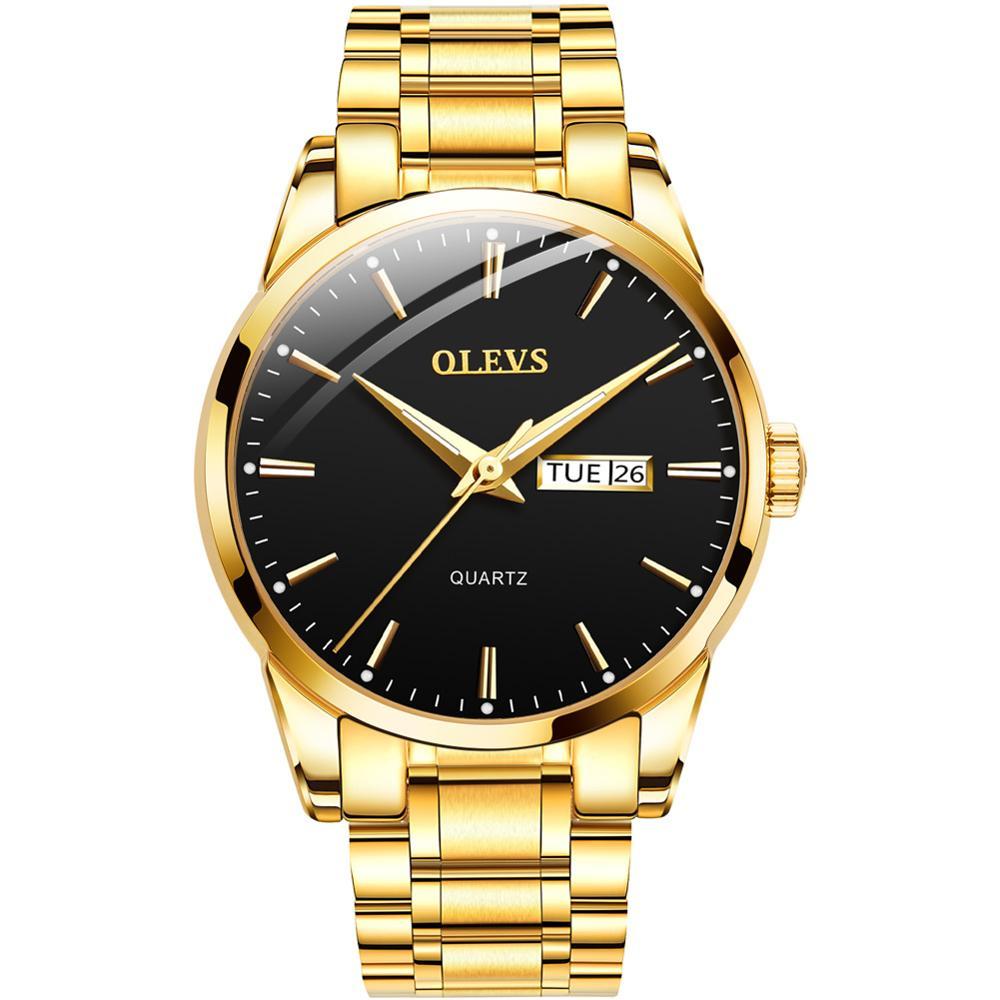 العلامة التجارية الأعلى الذهب رجل ساعة كوارتز التقويم ساعات الفولاذ للرجال الفاخرة مقاوم للماء Relogio Masculino مضيئة الذكور على مدار الساعة