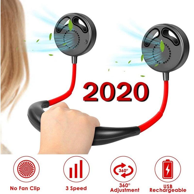 Cuchillas recargables USB mejoradas portátiles sin ventilador adecuadas para hombres y mujeres, ventilador de cuello de viaje de Camping para oficina y familia al aire libre