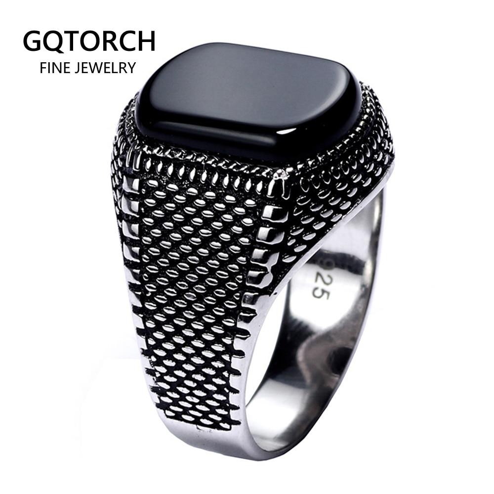 خاتم أسود من الفضة الإسترليني عيار 925 مع حجر عقيق طبيعي ، جوهرة تركية ، خفيف الوزن ، 6 جرام ، للرجال