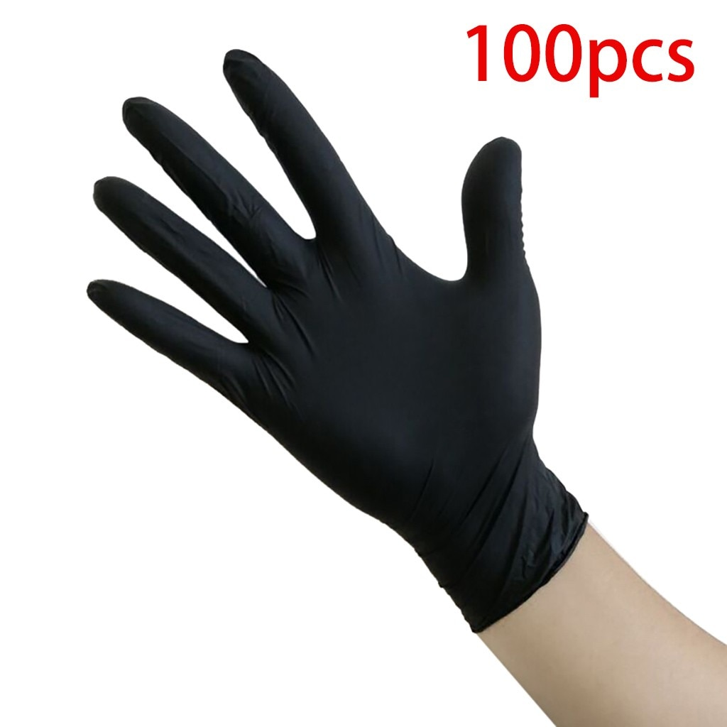 66# 100pcs/pack Compound Nitrile Gloves Black Food Grade Waterproof Hypoallergenic Disposable Work Safety