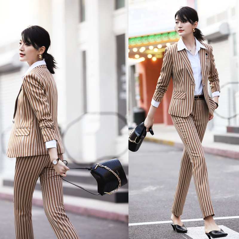 المهنية ارتداء دعوى الإناث الربيع و الصيف نماذج في كم مخطط بدلة صغيرة النمط البريطاني التجميل وزرة