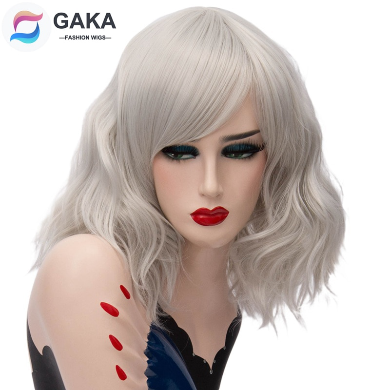 GAKA Short Wig Grey White Natural Wavy Cosplay Red Wig with Side Bang for Women 12 Colors Party Costume Natural Synthetic Hair fashion side bang short straight orange charming kousaka honoka cosplay wig with double chignons