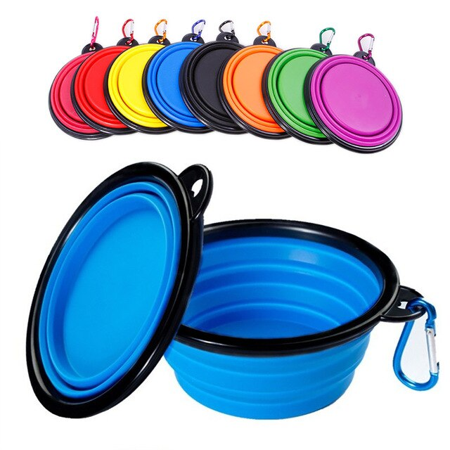 Collapsible Pet Silicone Dog Food Water Bowl Outdoor Camping Travel Portable Folding Pet Bowl Dishes with Carabiner Pet Products