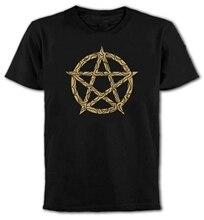 Neue Sommer Stil Mode Kurzarm Pentagrama T-Shirt-Gothic-Rock-Punk Emo Magische Pagan Wicca T Shirt Design
