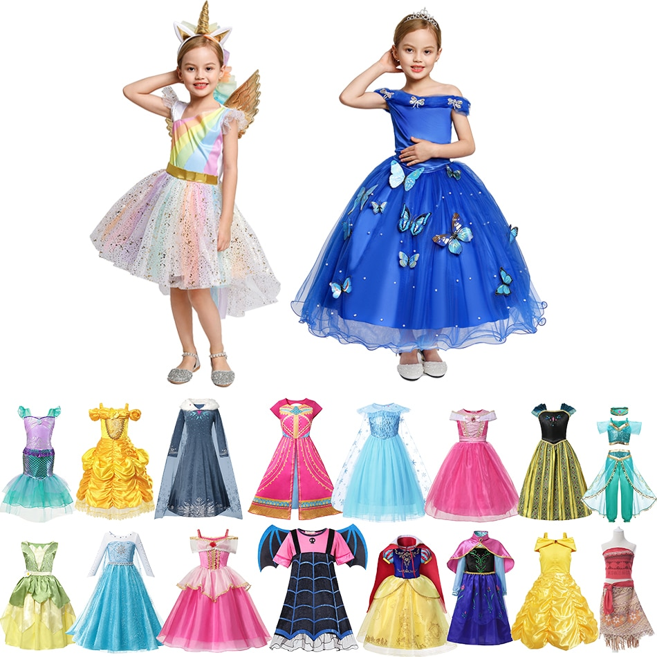 Menina princesa trajes anna e elsa rpg playing frocks neve branco festa cosplay roupas unicórnio vampiro vestido de fadas 2-10 anos