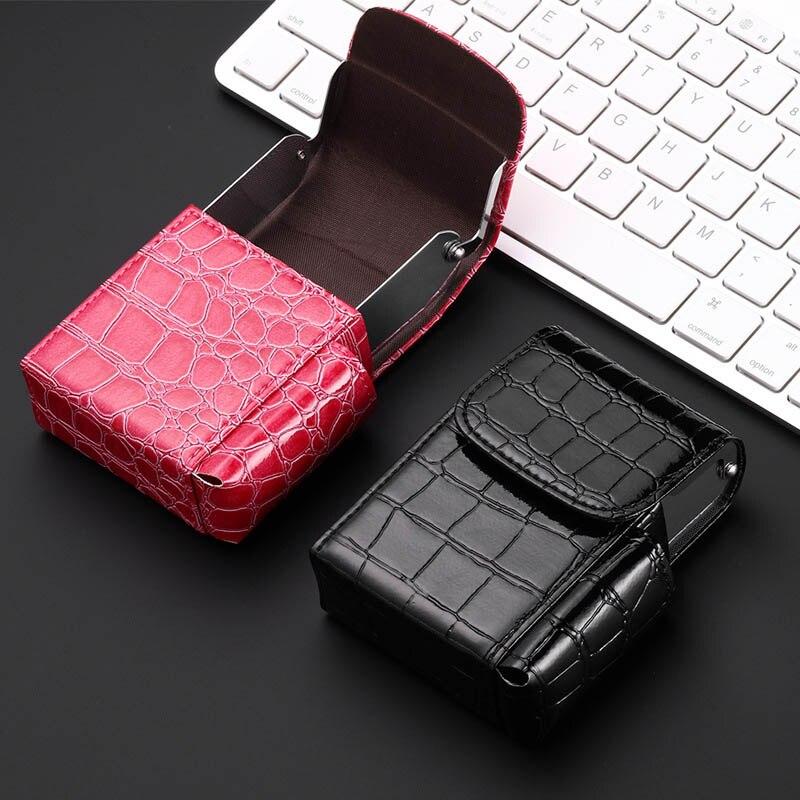 NEW Fashion Advanced Cigarette Box Cigarette Lighter Tobacco PU Leather Smoke Tools Cigar Case Men G