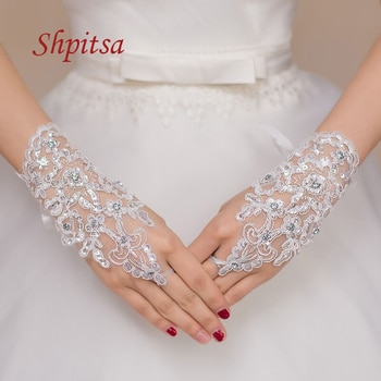 White Lace Gloves Women Ivory or Red Sheer Fashion Fingerless Bridal Wedding Gloves for Bride