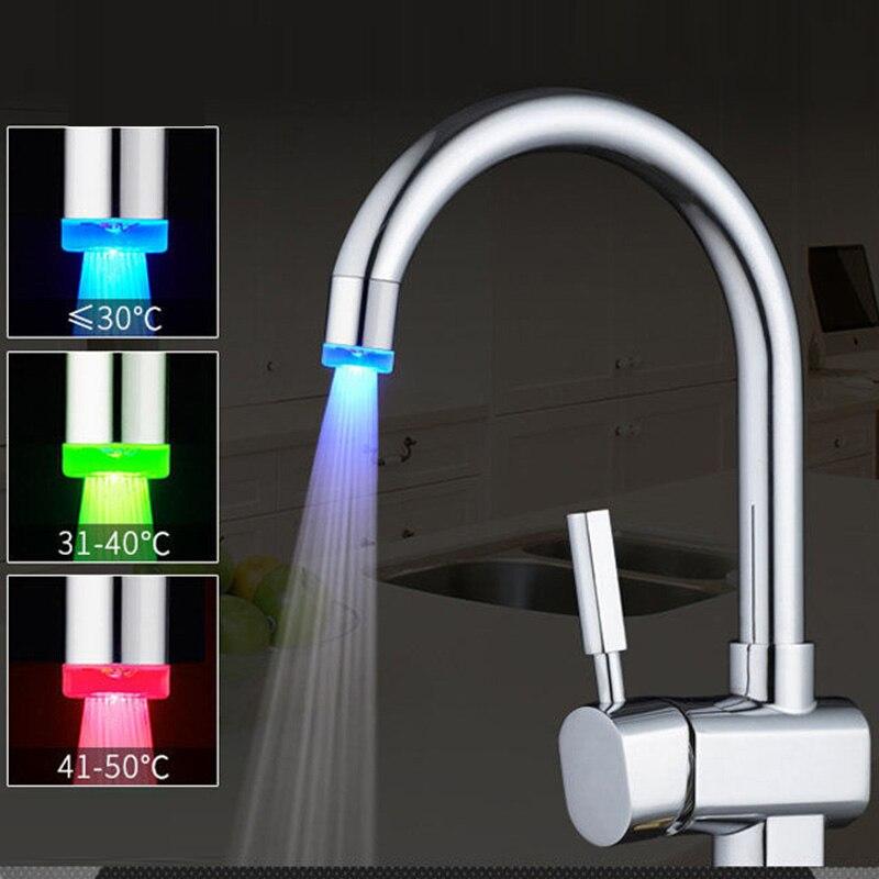 Чувствительный смеситель с 3 цветами света, кухонные светодиодсветодиодный термометры, светящийся водосберегающий смеситель светильник а...