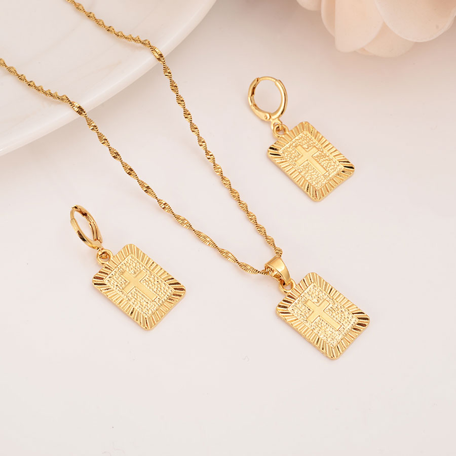 22 K 23 K 24 K Thai Baht oro amarillo fino sólido GF Cruz cuadrada cristiana colgante gota collar cadena pendientes establece Jesús regalo