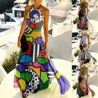 fashion ladies sexy dress casual halter high waist abstract painting off shoulder women backless dress for beach daily wear