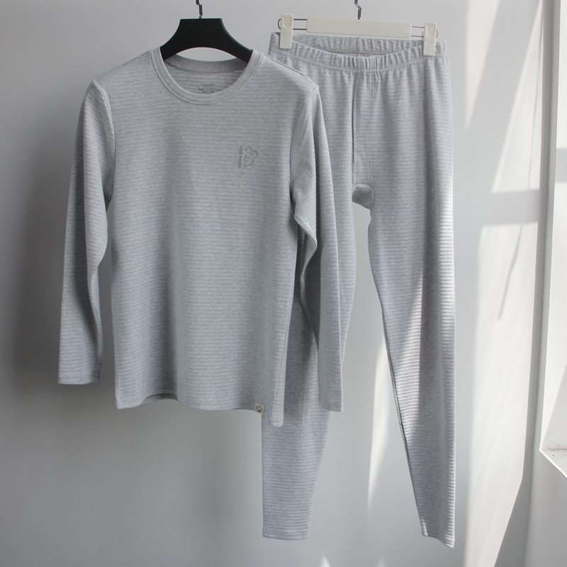 Men's Jacquard fabric O-neck cotton Pullover set autumn men sleep set Thermal Underwear sets Crew neck home pajamas set