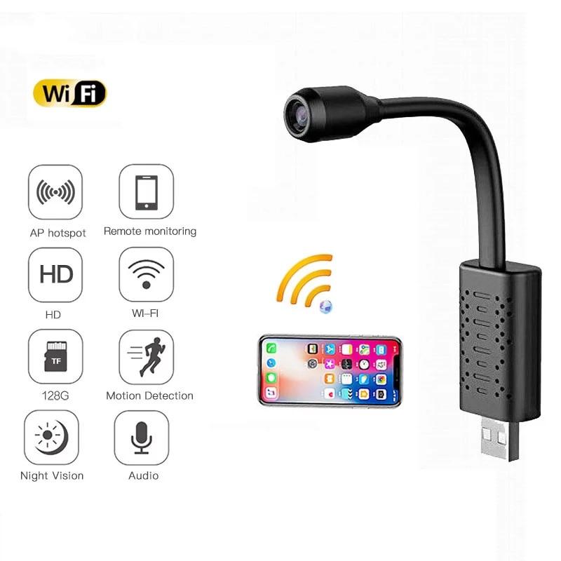 V380 USB كاميرا واي فاي صغيرة مراقبة المنزل IP كاميرا 1080P كشف الحركة مايكرو كاميرا فيديو صغيرة الصوت مسجل دي في أر U21