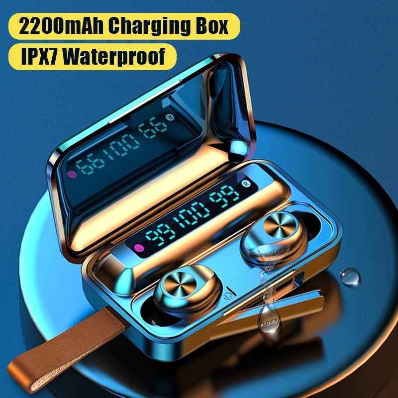 TWS Bluetooth-compatible Earphones Wireless Headphones with Mic Sports Waterproof Touch Control Wire