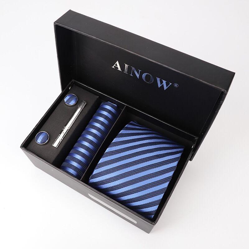 ties for men 8 cm men's gift to a man box set formal dress neckties and handkerchief Cufflinks Tie clips set wholesale lot