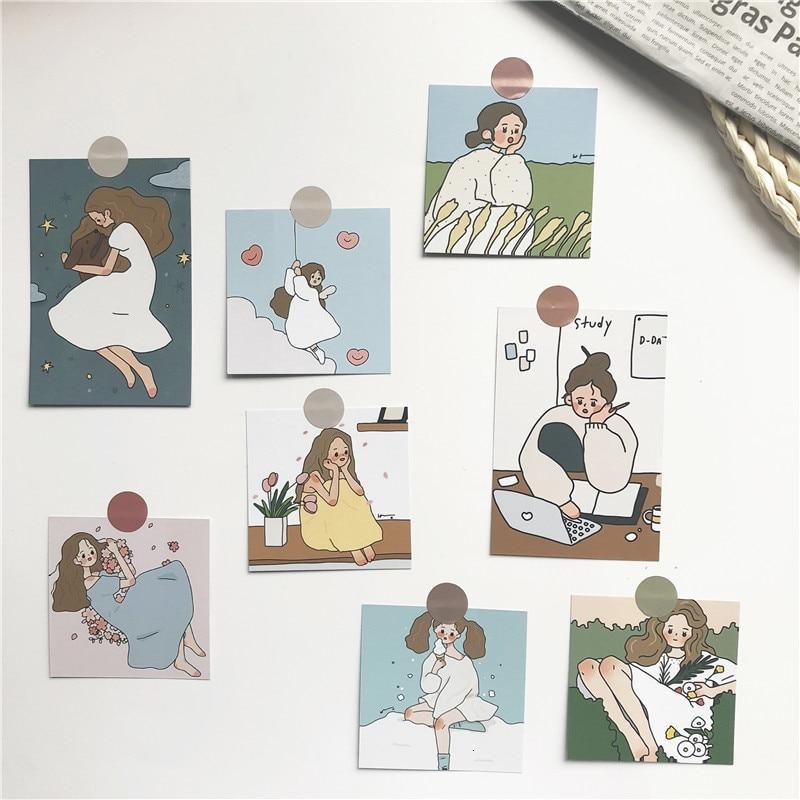 SIXONE Ins 8 наборов, милые Креативные декоративные открытки для девушек, реквизит для фотографий, декоративные картины, наклейки для костюма, ме...