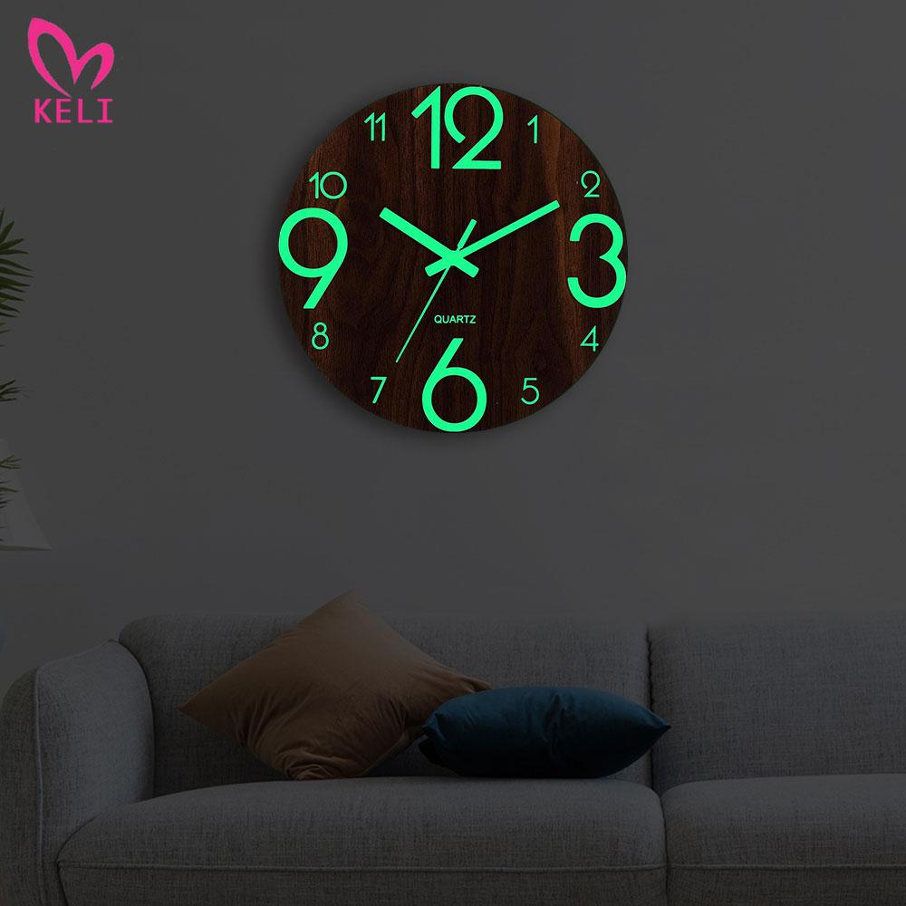 Wooden Wall Clock Luminous Number Hanging Clocks Quiet Dark Glowing Wall Clocks Modern Watches Home